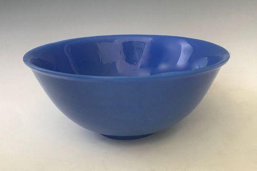 Antique Chinese Peking Glass Powder Blue Bowl