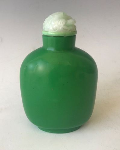 Antique Chinese Monochromatic Green Apple Snuff Bottle