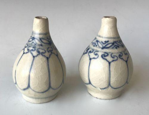 Antique Vietnamese Blue Ceramic Pair of Mini Bottles