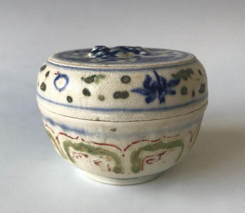 Antique Vietnamese Blue Ceramic Cosmetic Box