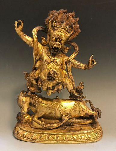 An Antique Bronze Tibetan Yama Dharmaraja