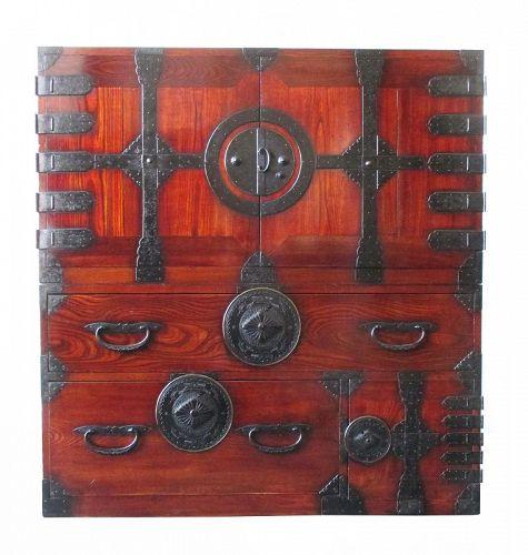 Japanese Antique 2-Section Kannon Biraki Isho Tansu