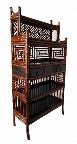 Antique Chinese Bamboo Display Cabinet