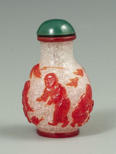 Chinese Antique Red Crystalline Snuff Bottle with Children