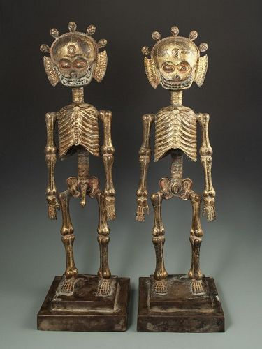 Rare Pair of Antique Himalayan Chitapati Skeletons Ritual Objects