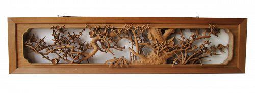 Japanese Ranma Ryokan Transom High Relief Carving Chiku Bai Design