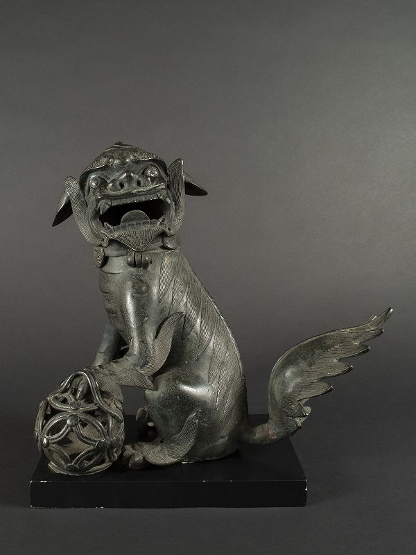 Chinese Bronze Fu Dog Incensor, MIng Dynasty