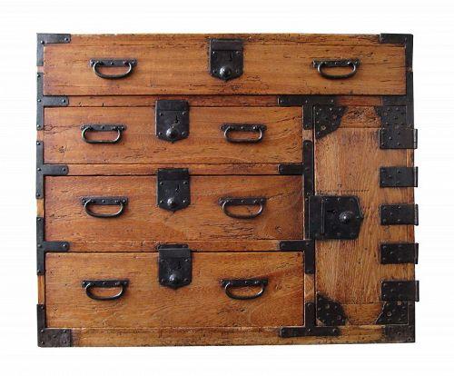 Antique Japanese Ko Tansu (Personal Storage Chest) Kirinoki Meiji Era