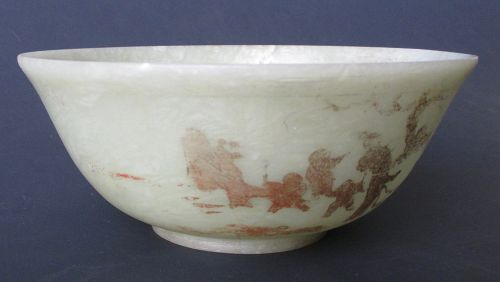 Chinese Antique Jade Bowl with Gilt Design