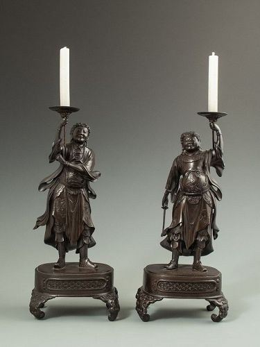 Pair of Antique Japanese Bronze Candlesticks