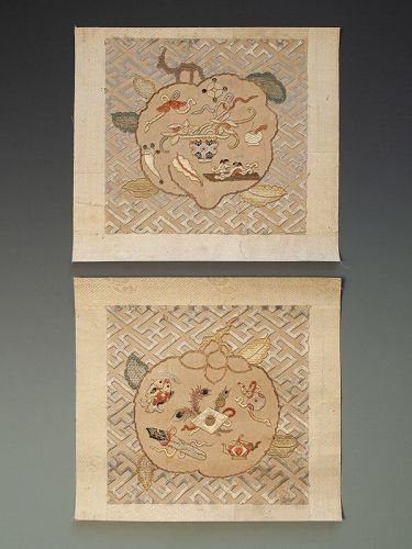 Pair of  Chinese Buddhist Embroidered Silk Panels