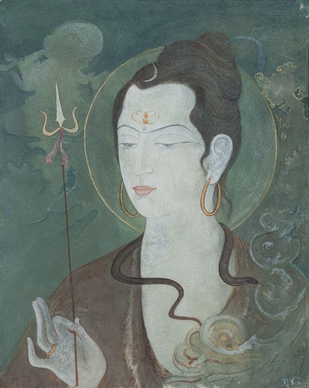 Indian Navaratna Painting of Goddess Shailaputri