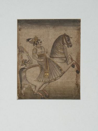 Indian Miniature Mewar Painting of Maharaja on White Horse