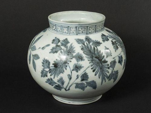 Korean Antique Blue and White Vase