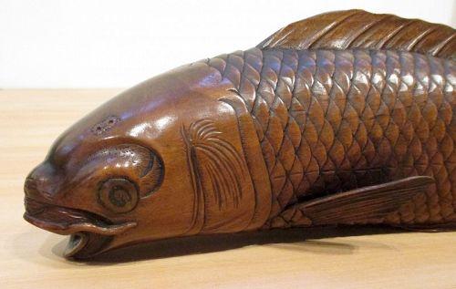 Antique Japanese Carved Okimono of Swimming Carp