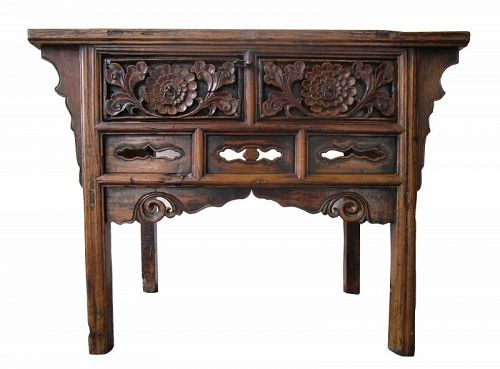 Antique Chinese Coffer Table Elm Zhejiang Province 18th Century