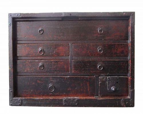Antique Japanese Ko Tansu (Personal Storage Chest) Kirinoki Edo Period