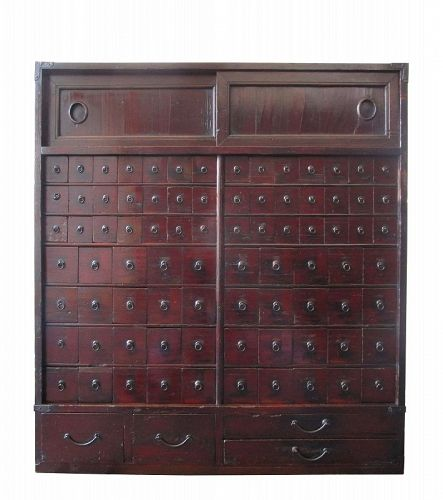 Antique Japanese Kusuri Tansu (Herbal Pharmacist Chest) Kirinoki Edo