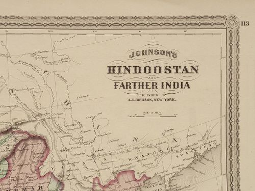 Antique Map of  British India 1867