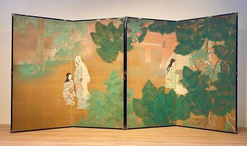 Pair of Japanese Byobu Shrine Visiter