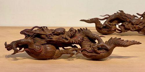 Pair of Japanese Keyaki Dragon Temple Corbels