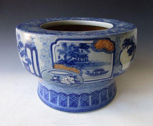 Antique Japanese Hibachi (Brazier) Blue & White Sometsuke Pedestal