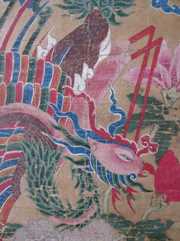 Korean Antique Tall Painted Panel of Two Phoenixes and Flowers