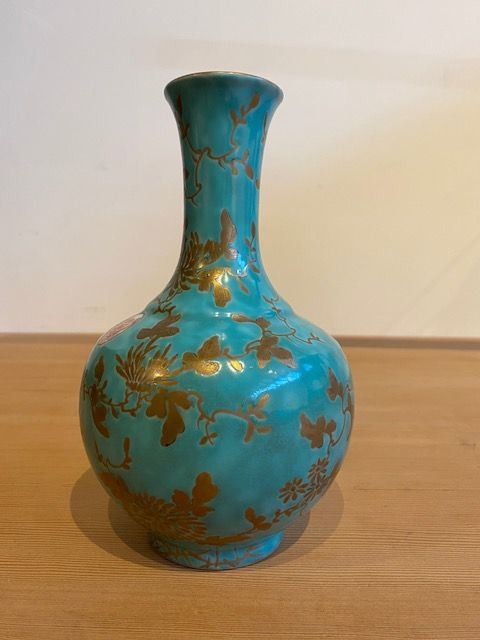 Chinese Antique Porcelain Turquoise and Gilt Vase