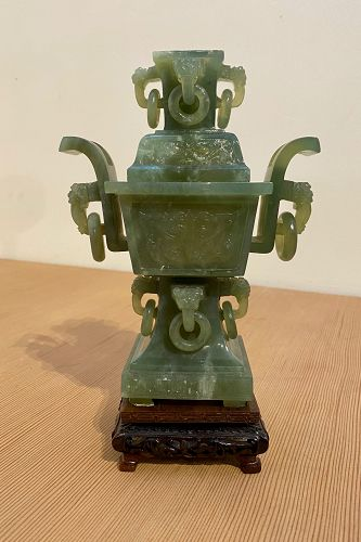 Chinese Jade Covered Container on Stand