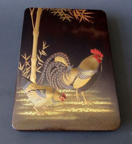 Japanese Antique Lacquer Box with Rooster and Hen