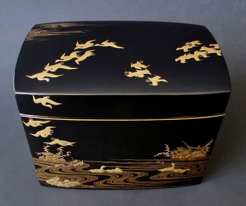 Japanese Antique Lacquer Incense Box with Birds and Inside Tray