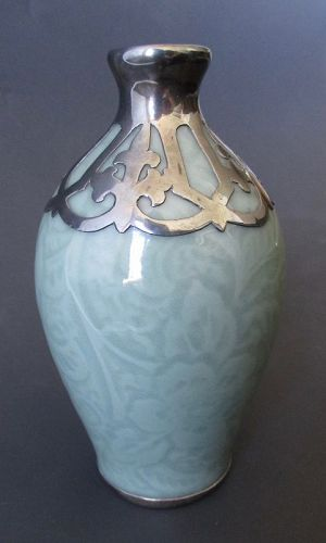 Antique Chinese Celadon Vase with Silver
