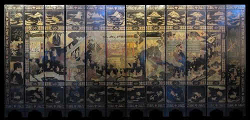 Chinese Ming Dynasty 12-panel Coromandel Screen with Palace