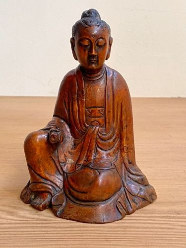 Chinese Antique Daoist Wood Carved Figure