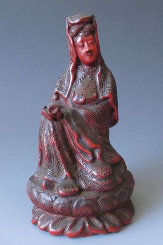 Japanese Antique Carved Cinnabar Lacquer Quan yin
