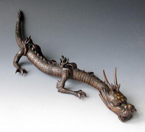 Japanese Antique Articulated Boxwood Dragon Jizai-Okimono