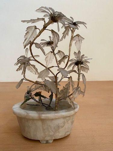 Antique Chinese Crystal Floral Arrangement