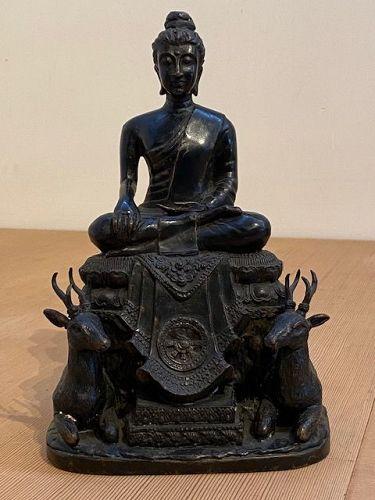 Southeast Asian Bronze Buddha with Deer and Wheel of Dharma