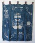 Japanese Antique Indigo Textile with Tea Ceremony Design