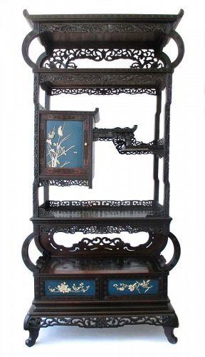 Japanese Antique Shodana with Rare Open Shelves and Bone Inlay