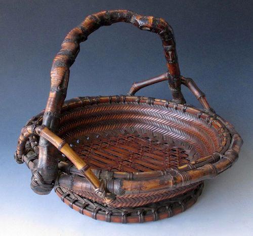 Japanese Antique Bamboo Ikebana Basket with Gnarled Bamboo Handle