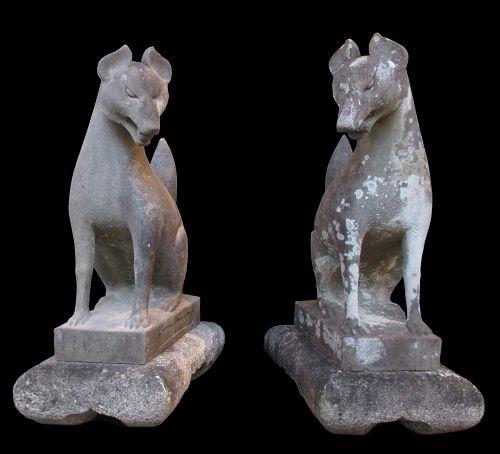 Japanese Antique Pair of Large Stone Inari Foxes (Kitsune)