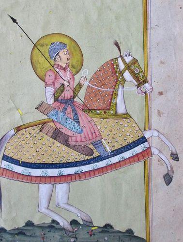 Indian Mughal Miniature Equestrian Portrait of Emperor
