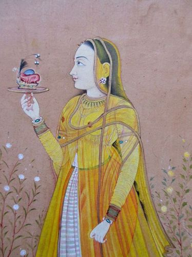 Indian Antique Mughal Miniature Painting of a Princess