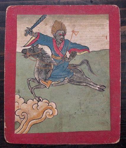 Tibetan Antique Tsakli Card with Painting of Heruka on Horseback