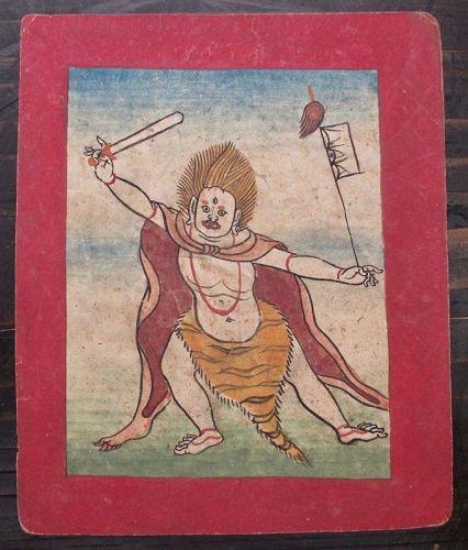 Tibetan Antique Tsakli Card with Painting of Heruka with Tiger Skin