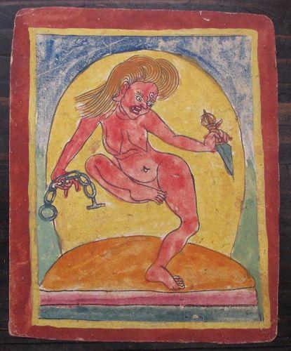 Tibetan Antique Tsakli Card with Painting of D�kinī with Phurba