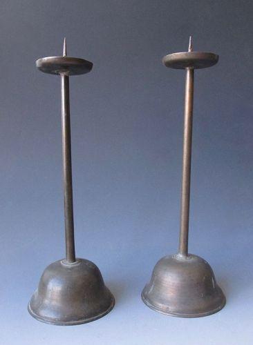Japanese Antique Bronze Candle Sticks,  Edo Period