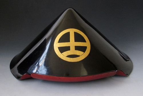 Unusual Japanese Antique Black Lacquer Jingasa with Gold Mon