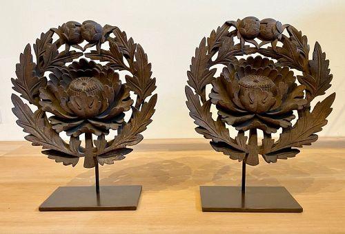 Rare Pair of Japanese Keyaki Peonies Temple Doors Crests